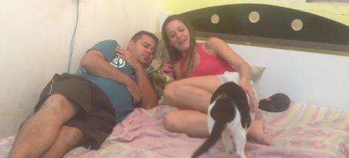 Casal simula agressão e gato defende seu dono