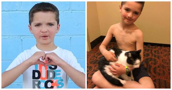 Depois de sofrer discriminação por causa de sua aparência, menino adota gatinho nas mesmas condiç...